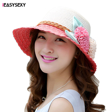 iEASYSEXY Brand 2016 Korean Style Summer Sunscreen Sunshade Resort Straw Cap Fashion Women Adult Casual Beach Hat With Flowers