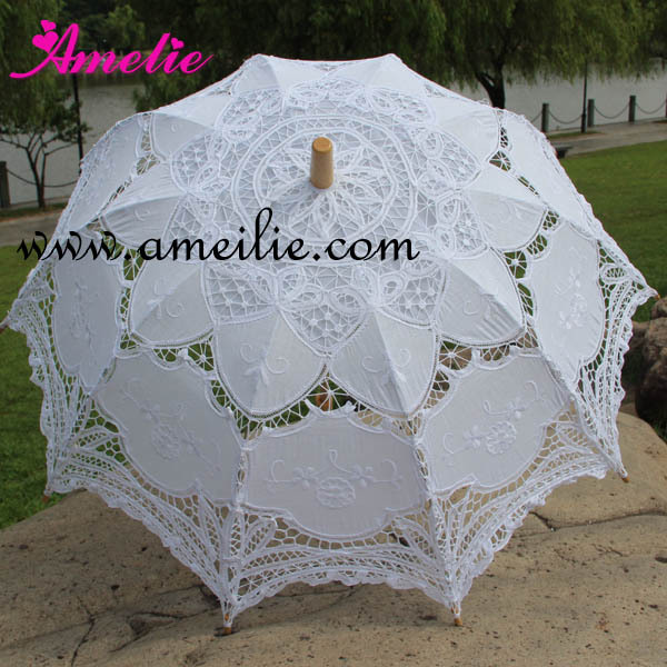 bc9dde1be Retail With Free Shipping Bamboo Wooden Handle White Wedding Parasol  Vintage Wedding Decoration Lace Wedding Umbrella-in Umbrellas from Home &  Garden on ...