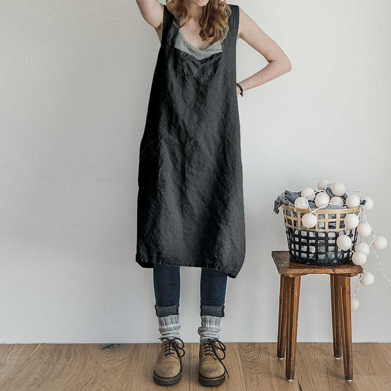 82e7d494043 Pinafore Dress Women Square Cross Apron Garden Work Pinafore Dress Woman  Casual Loose Pocket Long Overalls