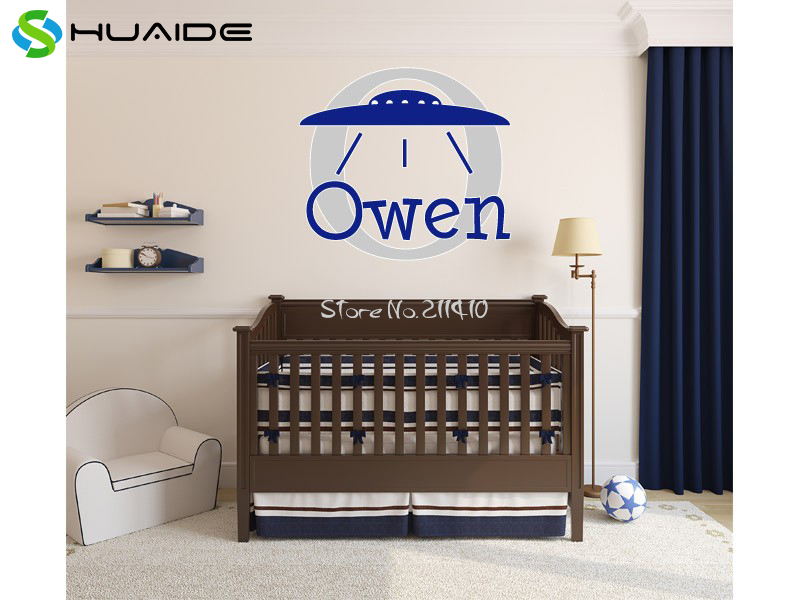 Personalized Boys Name UFO Wall Stickers Home Decor Customa Baby Name Wall Art Decal Adesivo de parede Muraux Wall Tattoo SA635