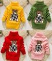 Nuevo 2016 niños niñas bebé otoño/invierno caliente desgaste de dibujos animados suéteres suéteres niños prendas de vestir exteriores babi jersey de cuello alto