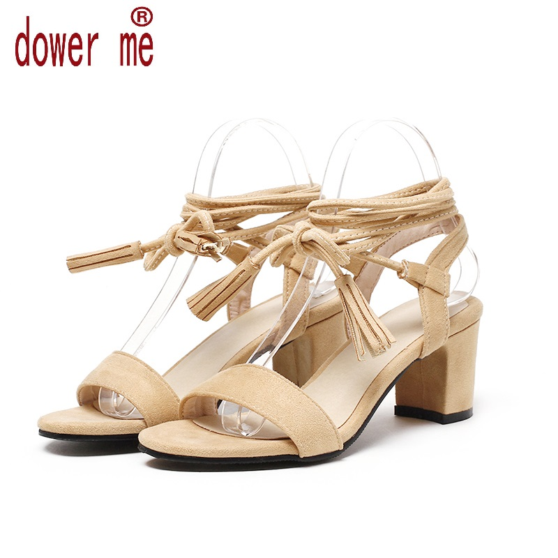 Dower Me 2017 Summer Shoes Woman Lace Up Sandals Women Pu Leather Casual Open Toe Gladiator Square High Heel Shoes Zapatos Mujer 2017 new summer shoes woman platform sandals women genuine leather casual open toe gladiator wedges women shoes zapatos mujer
