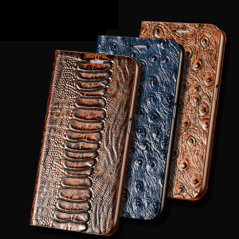 For Apple iPhone X Case Cover Luxury 3D Ostrich Texture Genuine Leather Flip Stand Card Case Phone Bag+Free Gift