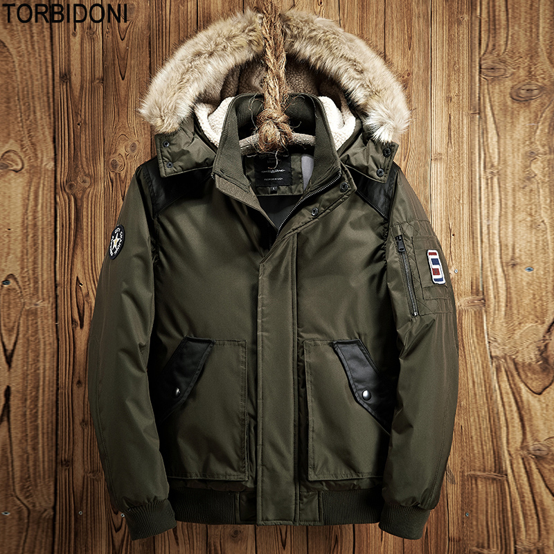Men Winter Warm Outwear Jacket 2017 Polyester Hooded Cotton-padded Jacket Coat Fashion Solid Thick Parkas Faux Fur Hat Loose Fit