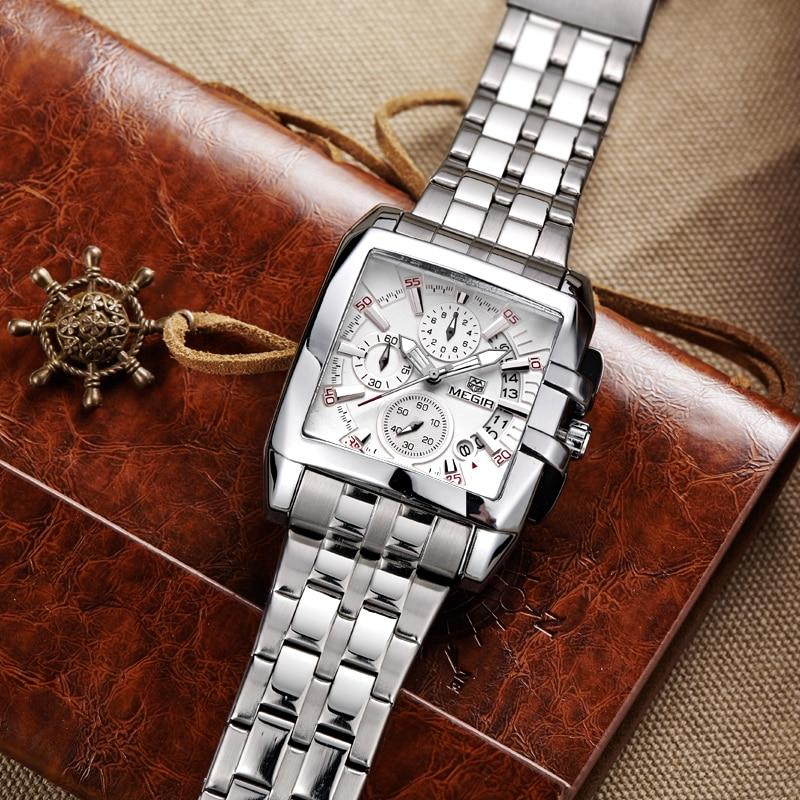 MEGIR Mens Big Dial Fashion Quartz Watch Waterproof Sports Watches Men Stainless Steel Business Wristwatches Relogio Masculino