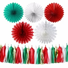 Merry Christmas 10pcs Home Decorative Paper Fan Set White /Red / Green Color Crafts Decoration