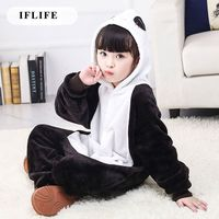 Pijama Infantil Onesie Hooded Kids Animal Cartoon Pajama Black Panda Children Boy Girl Unisex Pyjama