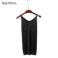 2017 Korean Knitting Style Sexy Summer Vest Woman Sexy V Neck Long Type Bright Knitted Tank