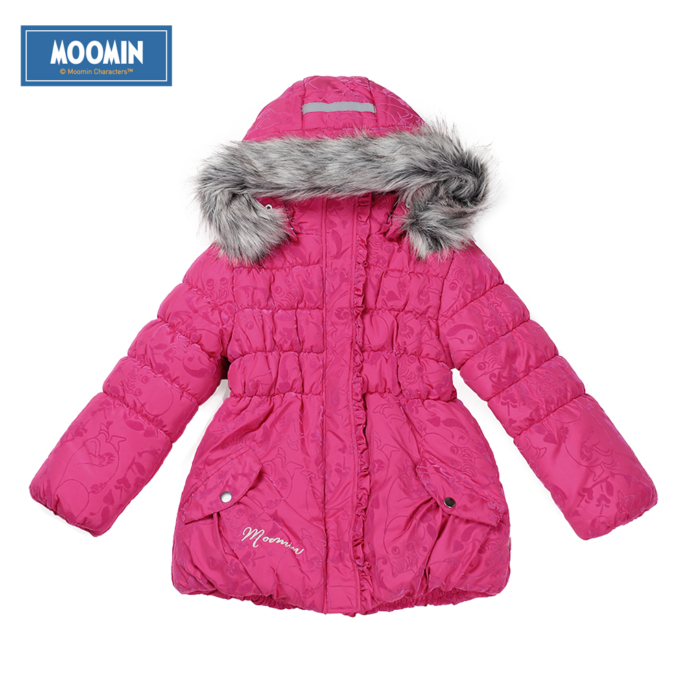 ФОТО winter parka girl 2015 Moomin new Polyester baby girl Character Woven Zipper pocket Turtleneck rose outerwear cotton parka
