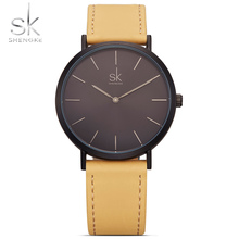 Shengke Brand New Fashion Simple Style Top Famous Luxury Quartz Watch Women Casual Leather Watches Reloj Mujer Hot Clock