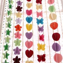 20pcs/lot Lovely Design Paper Garland Heart Circle Buttefly Star Flower Pattern Wreaths Festival Party Favor wd303
