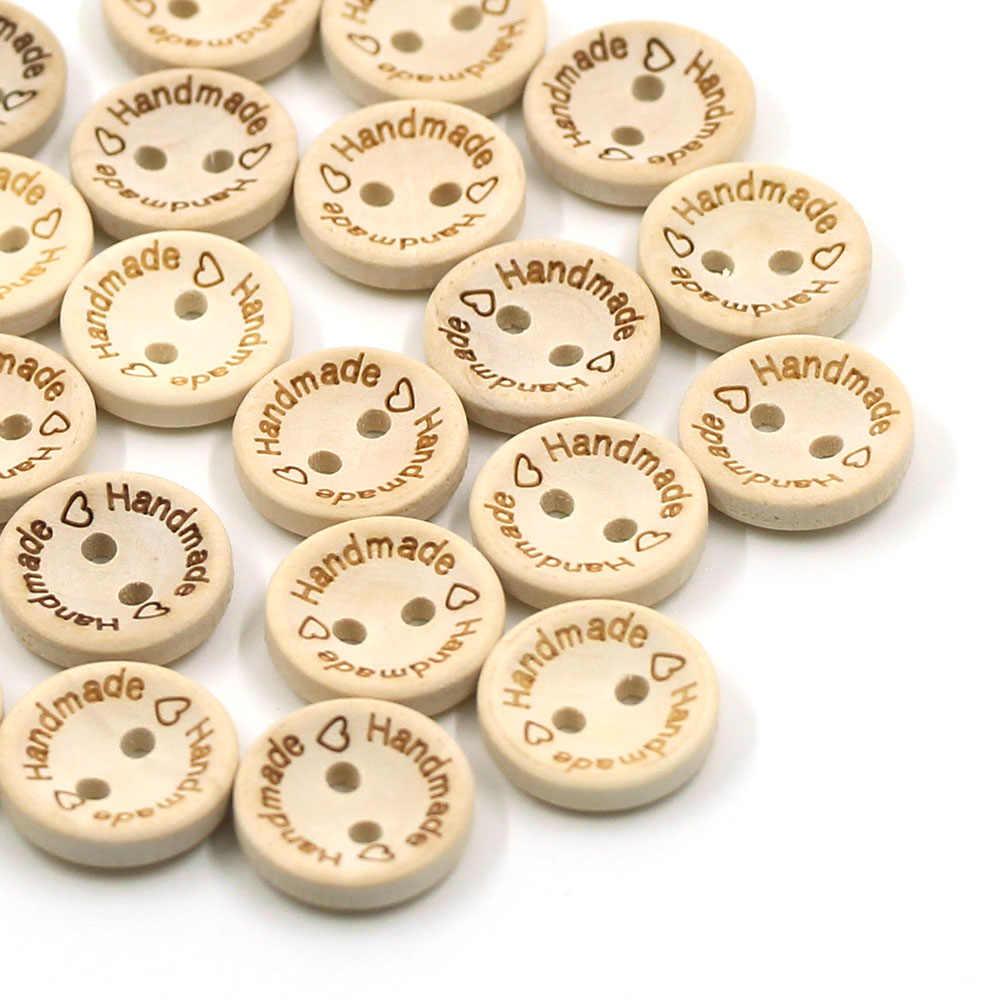 50 個ラウンド木製ボタン自然な色手作りボタン 2 穴縫製バックル 15 ミリメートル 20 ミリメートル 25 ミリメートルボタン衣料用 CraftDIY