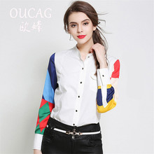 OUCAG New Fashion Women Elegant Long Sleeve Shirts Tops Ladies V-neck Print Casual White Blouse Shirts