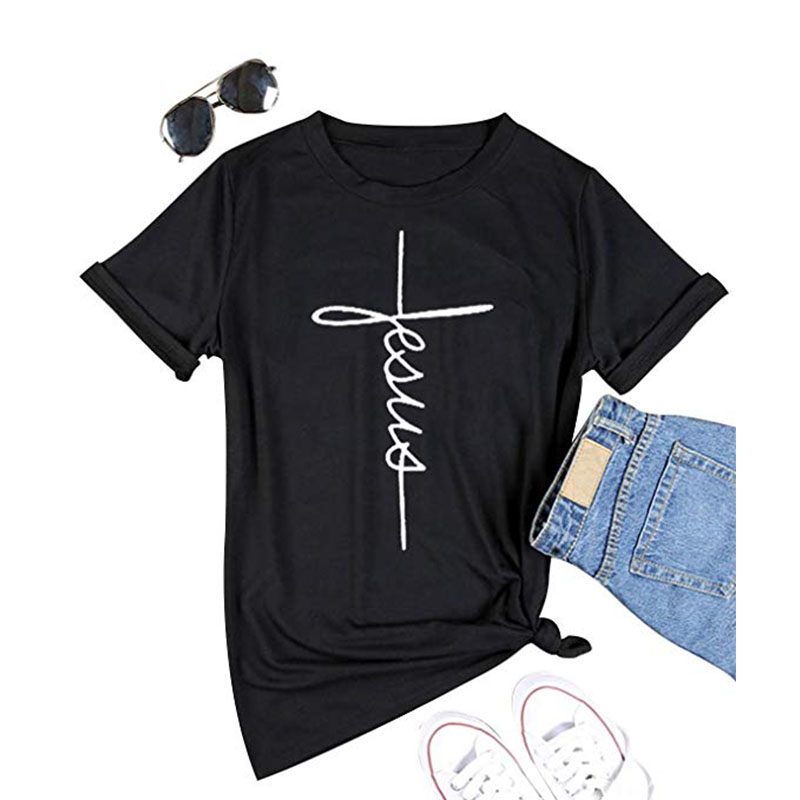 LUSLOS New arrival Women short sleeve Jesus   T     shirt   Summer   T  -  shirt   Christian Cross Print Tops Female Tee   shirt   fashion streetwar