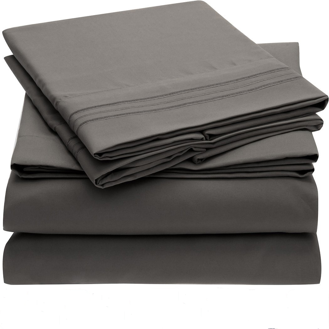 2017 discount Bedding Set Fitted sheet Flat sheet Pillowcase 3/4pcs US Size Solid Twin Full Queen King Bed sheet Dark gray