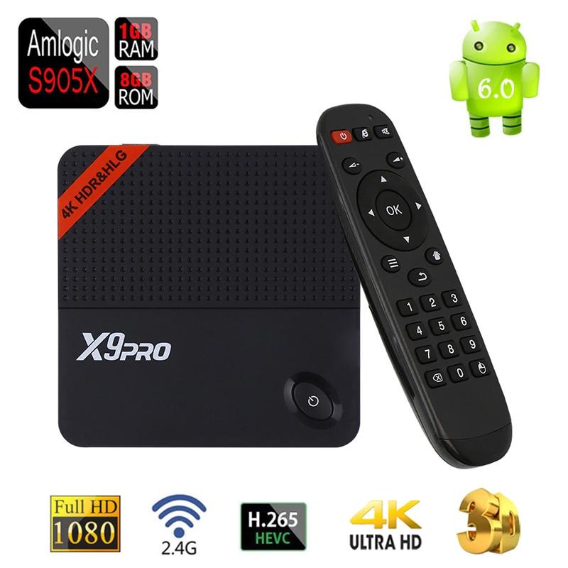 ФОТО [Genuine] Android 6.0 TV Box X9Pro Amlogic S905X Quad Core DDR3 1G/8G H.265 HEVC 2.4G WiFi Youtube Netflix Smart 4K Media Player