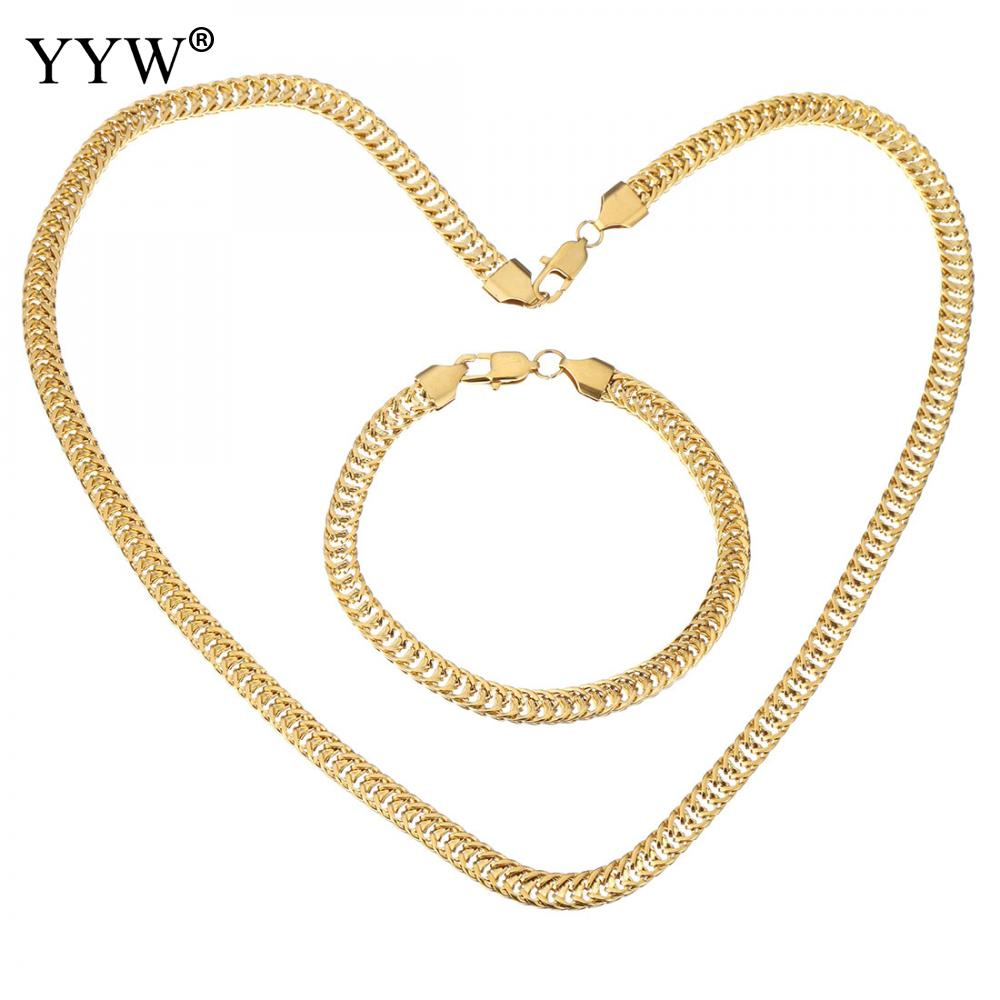 10Sets/Lot Fashion Stainless Steel Jewelry Set bracelet necklace gold color Unisex curb chain 6mm simple Jewelry Sets Women Man emanco stainless steel jewelry femme rose gold color link chain necklace with cute pendants simple brand design fashion jewelry