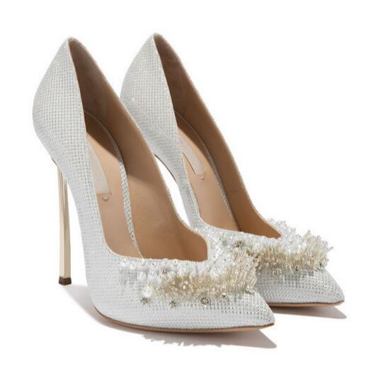 New gold hand woven pearl diamond pointed toe high heel sequined pearls beading wedding shoes large