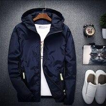 2018 New Spring Autumn Bomber Windbreaker Jacket Men Casual Slim Hooded Thin Zipper Raincoat Outwear Jacket