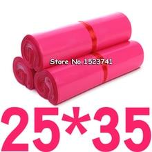 100 adet pembe renk zarf/posta çantası/kurye Mailer Express çanta 17*30cm/25*35cm