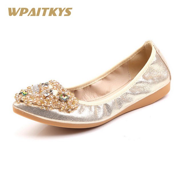 Black Gold Silver Ladies Flat Shoes Fashion Bling Fox Rhinestone Women  Flats Casual Leather Ballet Flats Fold Up Gold Shoes 528dae260ad9