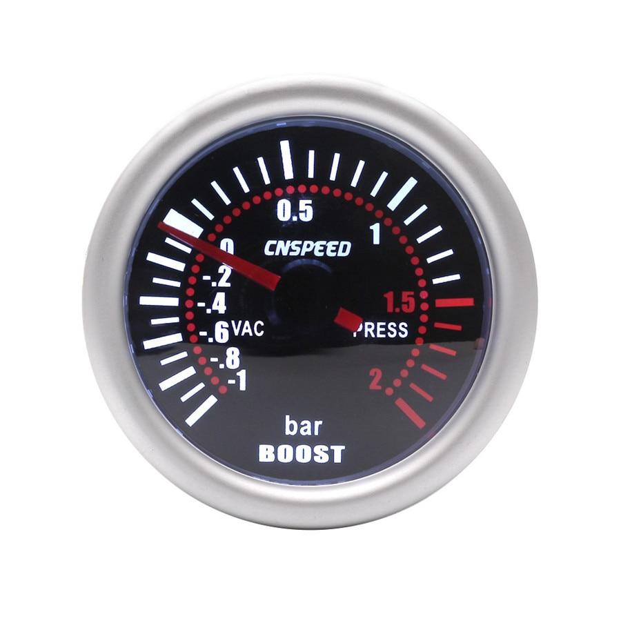 2 52mm Universal Car LED Bar Turbo Boost Bar Gauge Meter Bar Smoke Tint Lens Red Illuminated Needle