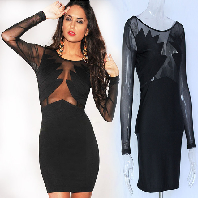 Summer Women Sexy Dress Black Long Sleeve Transparant Front Side Bodycon Slim Short Mini Club Party Dress