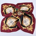 Moda Xadrez Impressão 100% Sarja De Seda do Xaile do Lenço Wraps das Mulheres Grande Praça Lenços de Seda Tamanho 90x90 cm Acessório Do vestuário