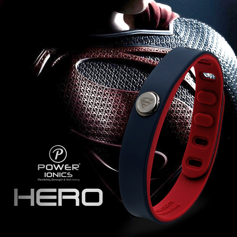 Power Ionics Hero Series Superman IDEA BAND 3000 ions Sports Waterproof Titanium Healthy Bracelet Wristband Balance Body