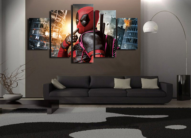 Bedroom Canvas Prints 5 panel funny deadpool wall art picture modern home decoration