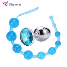 Runyu Sex Anal Toys For women Anal Beads Butt Plug Masturbation Dildo Anal G spot Vibrator Beads Adult Toy Anal Plug Sex Shop light purple glass anal plug anal ball plunger toy g spot stimulate toy for her page 7