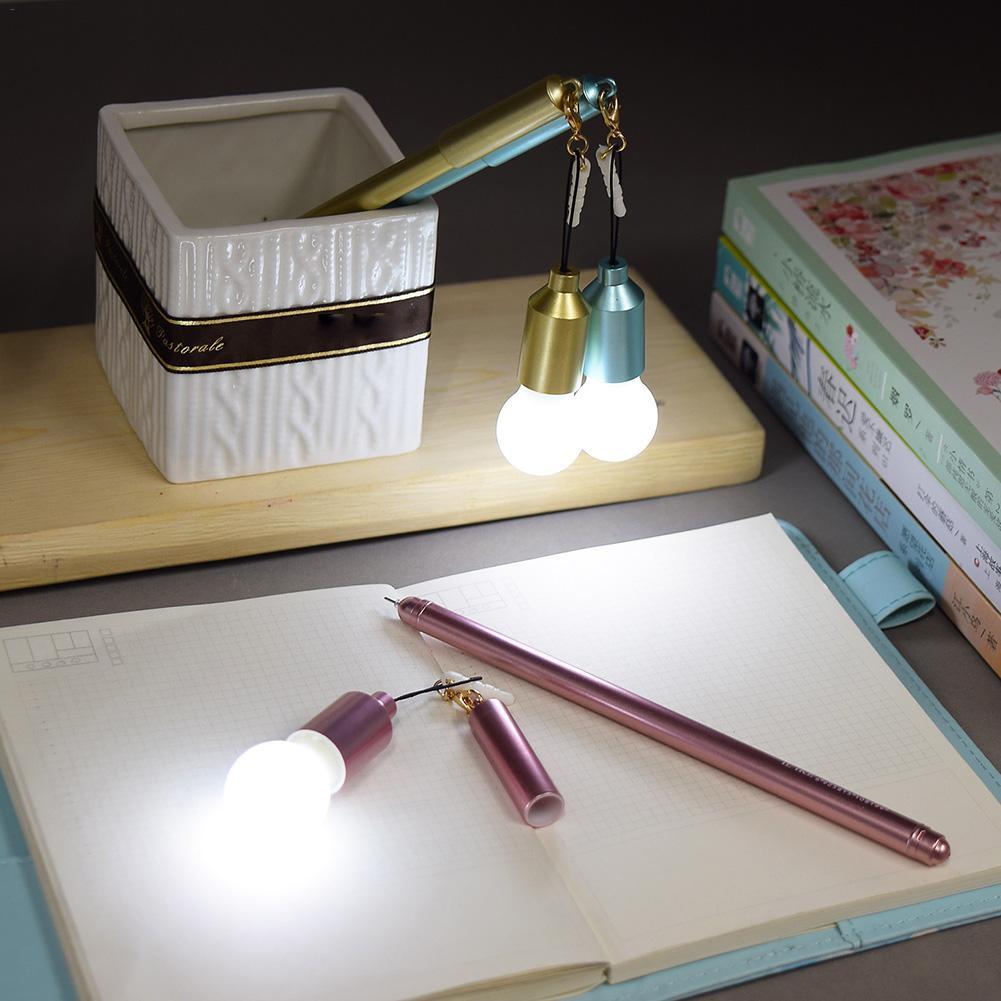 0 38MM Multifunctional Innovative Dustproof Plug Light Bulb Neutral Pen Black Pen Student Sign Pen
