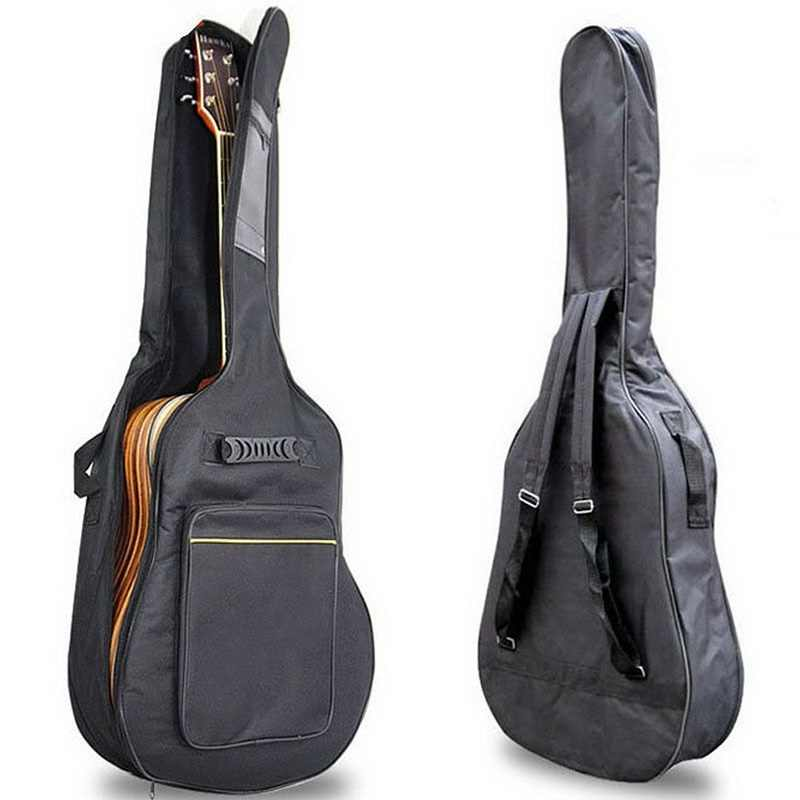 Black Guitar Carrying Bag Waterproof Two Front Pockets Adjustable Shoulder Straps Protective Classical Acoustic Guitar Bag Cover