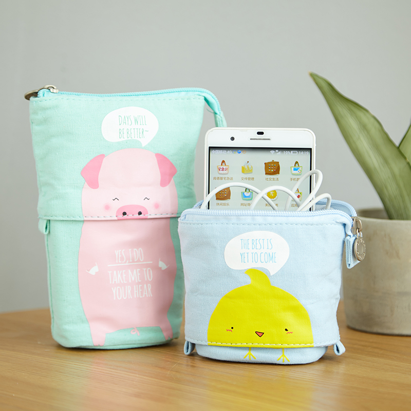 Okul Kawaii Pencil Case Large Capacity Print Zipper Cute Pencil Box Girls Pencilcase Boys Pencil Bag Student School Stationery kawaii big zipper pencil case for school stationery supplies cute cartoon animal large capacity pencilcase storage organizer bag