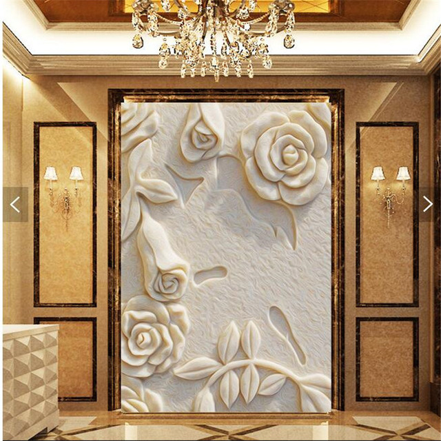 Tulip Rose Wall Art Painting For Kitchen Room Golden: Aliexpress.com : Buy Wall Paper 3d Art Mural HD White Rose