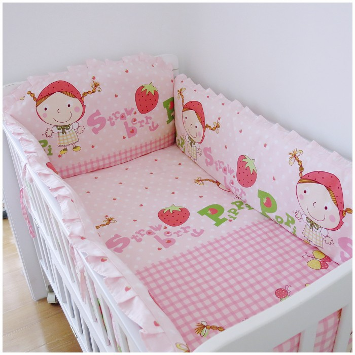 Promotion! 6PCS Strawberry girl,ropa de cuna Boy Baby Cot Crib Bedding Set (bumpers+sheet+pillow cover) promotion 6pcs baby bedding set baby crib set for boys ropa de cuna cot sheet bumpers sheet pillow cover