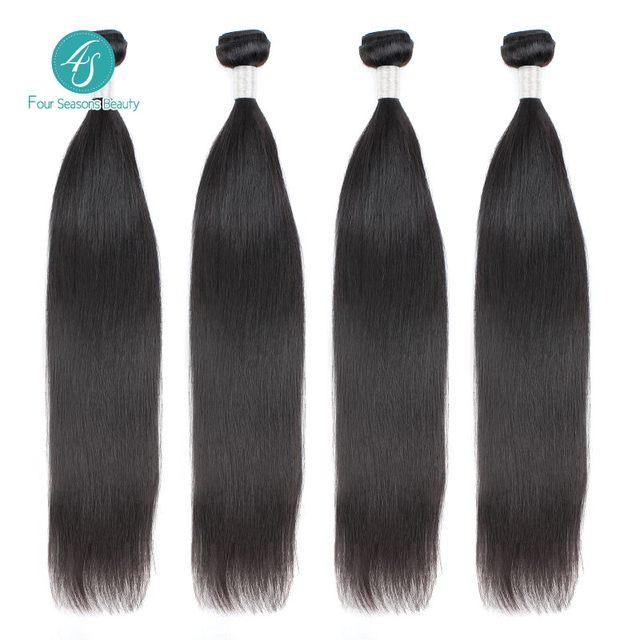 4S Перуанский Девы Волос Прямой Расширение Волос 4 шт. Перуанский Человеческих Волос Прямой Природный 1B Пучки Волос Парики Для Черный женщины
