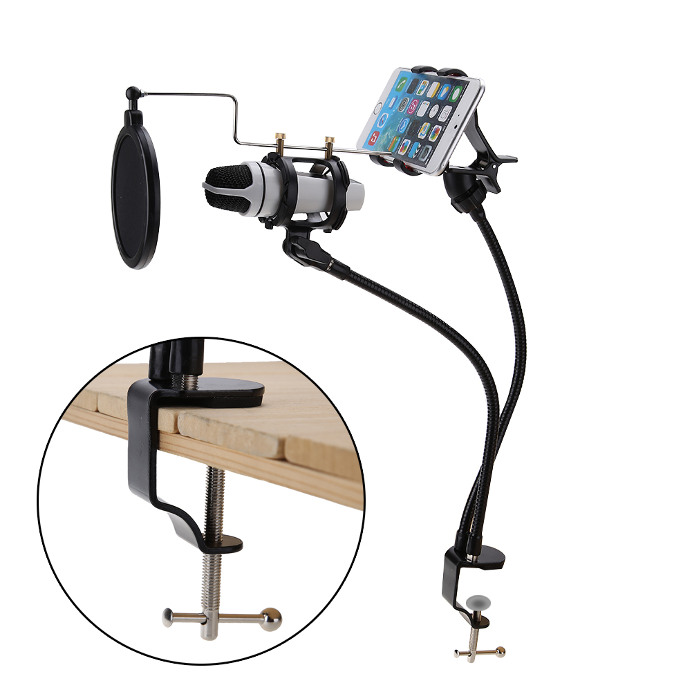 все цены на 2 in 1 Microphone & Phone Stand Holder Mount Set Support 360 Degree Recording the MV for 3.5-6inch Cellphone Microphone Clip онлайн