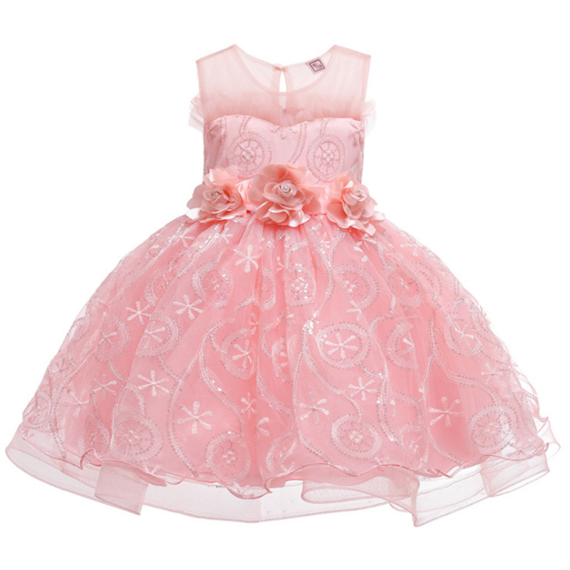 Sequin Mesh Ball Gown Girls Baby Costume  First Communion Dress Ball Gown Kids Pageant Clothes Children's Clothing Pageant Dress