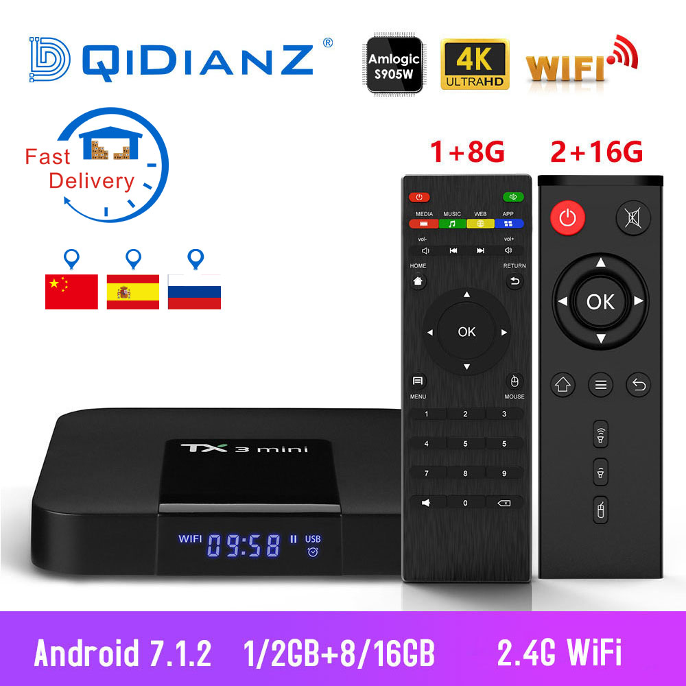 TX3 mini boîtier tv S905W Quad Core 2.4 GHz WiFi Android 7.1 Soutien 4 K Netflix YouTube lecteur multimédia TX3mini Set top box