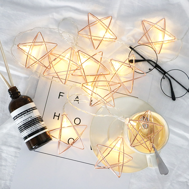 LED Fairy String Light Retro Iron Metal Hexagon Pentagram Diamond Ball Rope Xmas Holiday Wedding Party Home Decoration Lamp