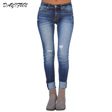 DAYIFUN Jeans for Women Blue Jeans Woman High Elastic Plus Size Stretch Jeans female Washed Denim Skinny Pencil Pants NZK-657 цена 2017