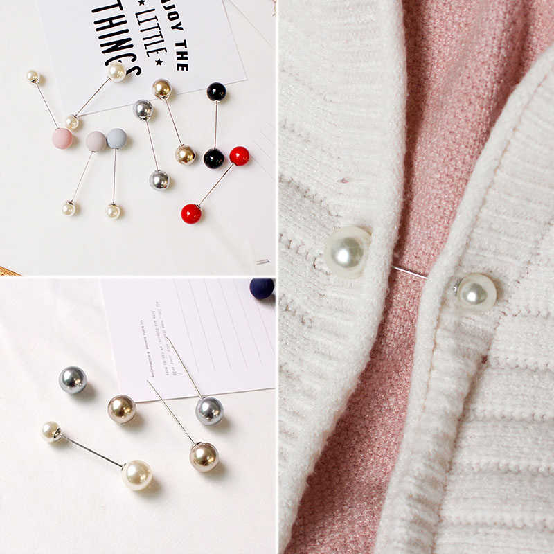 Graceful Simplicity Double Pin Simulated Pearls Brooch Elegant Women Classic Aesthetic Charm Corsage All-Match Brooch Round Pin