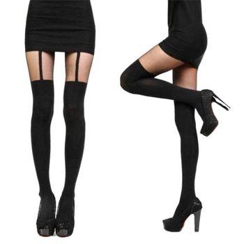 Women Girls Temptation Sheer Tattoo Mock Suspender Velvet Tights Pantyhose Fake Black Strap Garter Belt Thigh-High Stockings tights