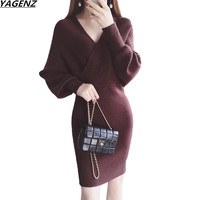 Winter Women Dress 2018 New Fashion Bat Sleeves V Neck Sexy Slim Knit Package Hip Dress