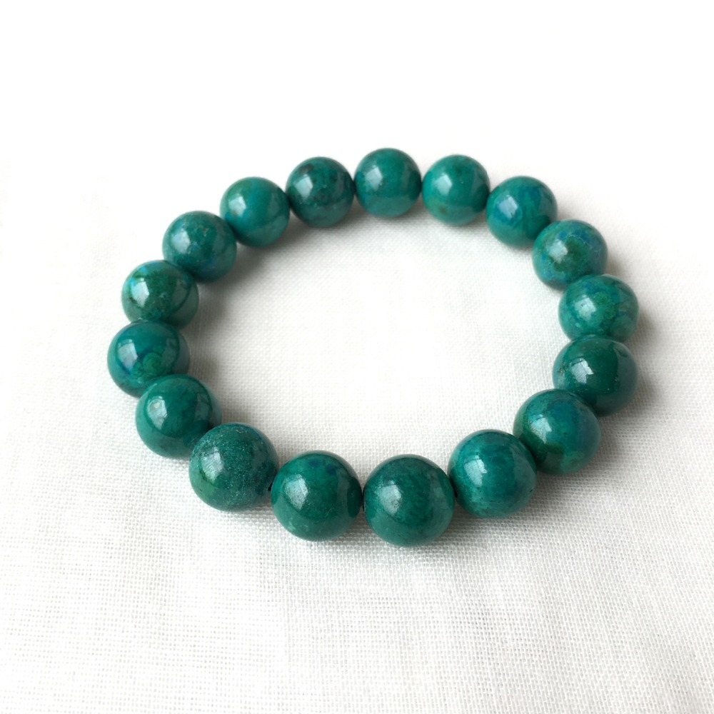 High Quality Real Natural Genuine Blue Green Chrysocolla Stretch Finish Bracelet Round beads 12mm 05200High Quality Real Natural Genuine Blue Green Chrysocolla Stretch Finish Bracelet Round beads 12mm 05200