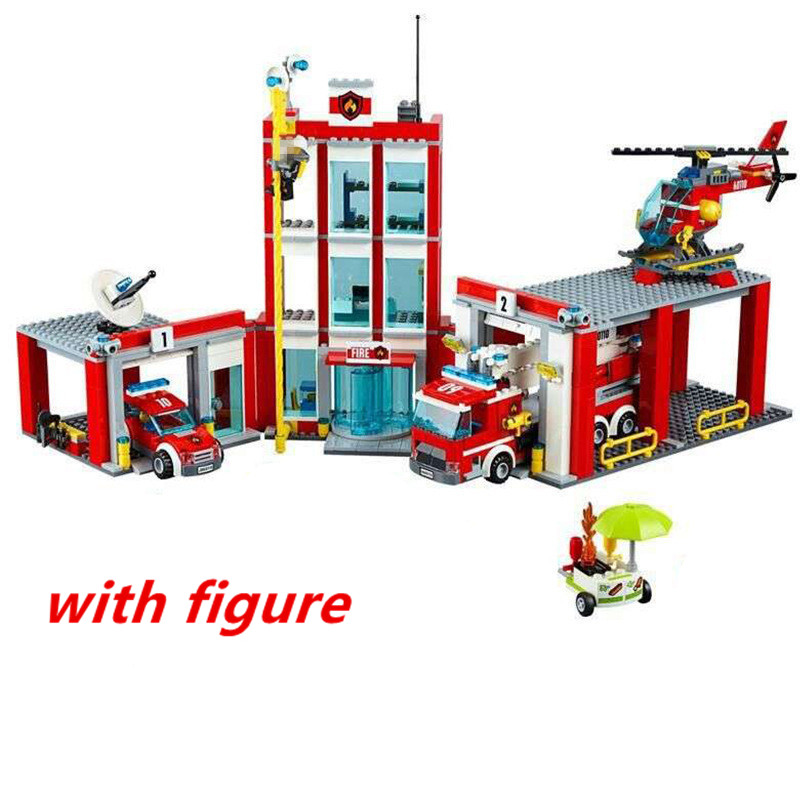 Lepin 02052 City series pompier Fire Station Building Block Brick Toy  Compatible With legoing pompier 60110  Christmas Gift lepin 02052 genuine 1029pcs city series the fire station set 60110 building blocks bricks educational toys christmas gift model