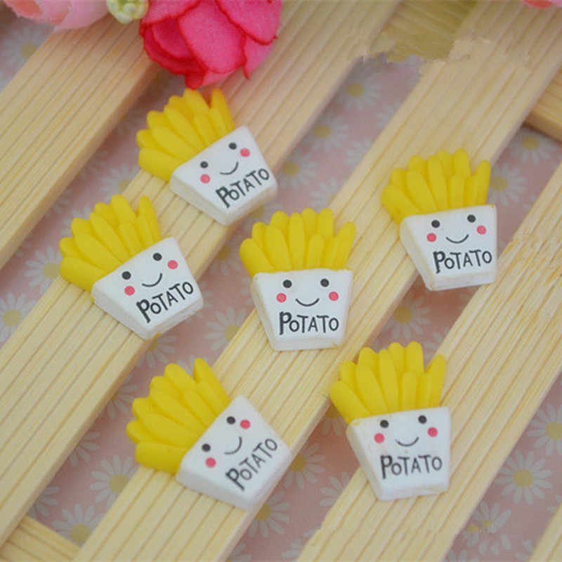 5Pcs/lot Smile New French Fries Polymer Slime Charms Modeling Clay DIY Kit Accesorios Box Toy For Children Slime Supplies