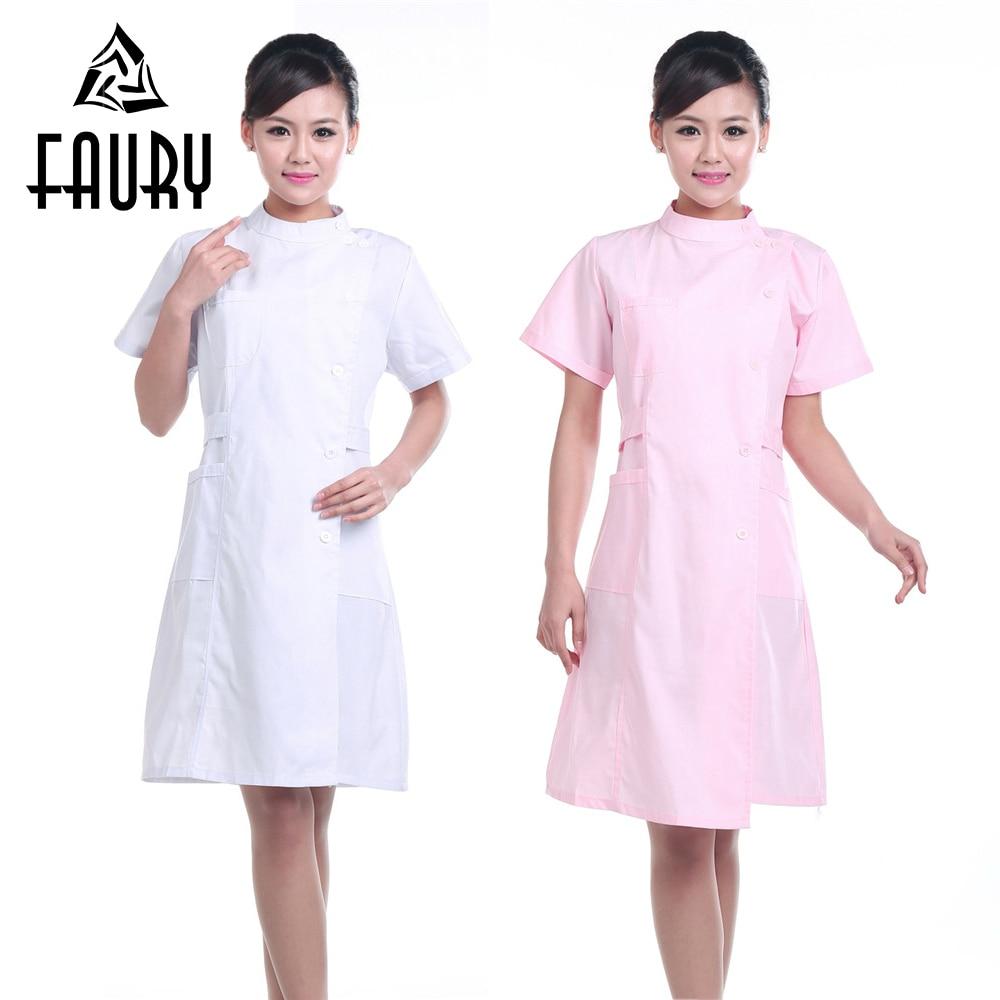 Női Pure Colour Short Sleeve Nurse Egyenruhák Nyári Nyakkivágás - Újdonság