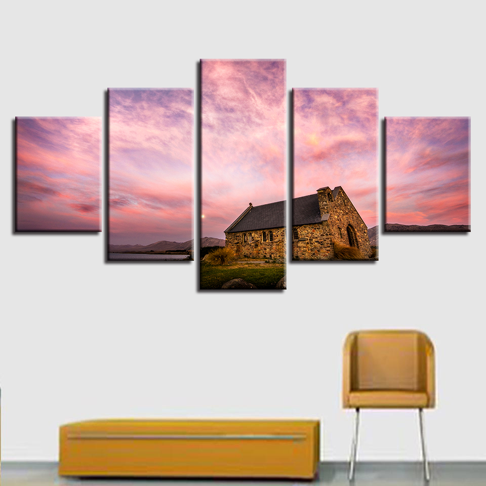 Abstract Photo Wall Modular Pictures For Living Room Decorative 5 Panel Pink Sky Cottage Frame HD Poster Canvas Painting in Painting Calligraphy from Home Garden